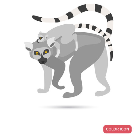 Cats lemur and cub color flat icon