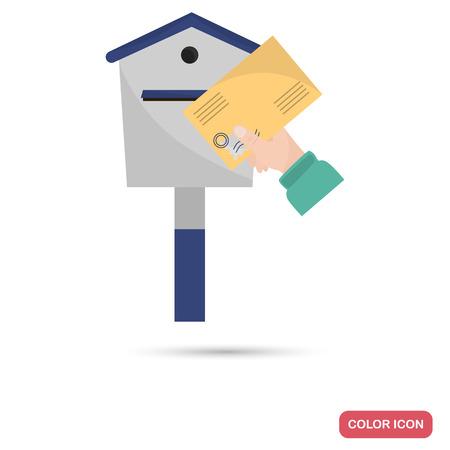 De afzender houdt een brief in het platte pictogram van de postbuskleur
