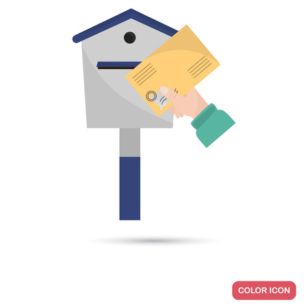 The sender holds a letter in the mail box color flat icon