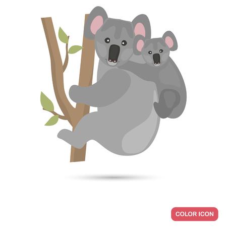 Koala and cub color flat icon isolated on plain background. Illustration