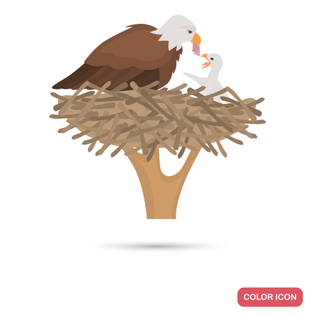 Eagle and chick in the nest color flat icon 일러스트