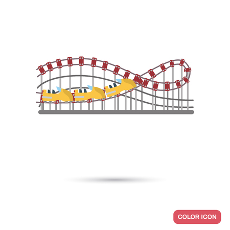 Roller Coaster Attraction color flat icon. Illustration