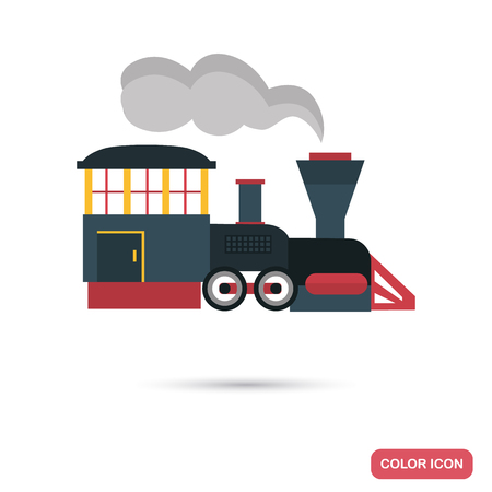 Amusement park locomotive color flat icon