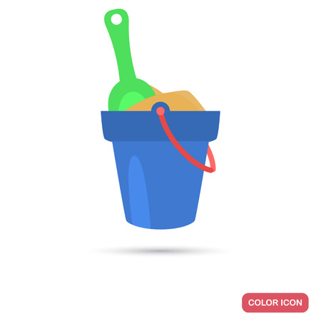 Toy bucket with sand and scoop color flat icon