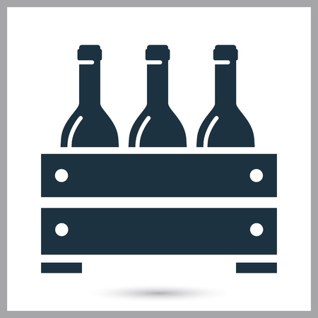 Wooden box of wine simple icon