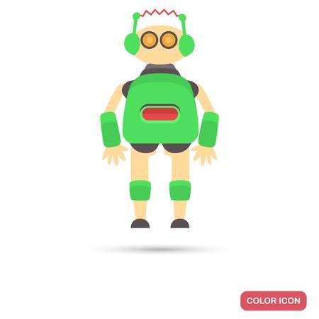 Toy robot color flat icon Çizim