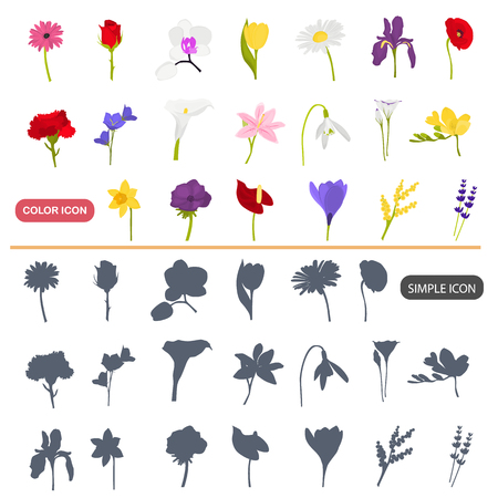 Color flat and simple garden flowers icons set Illustration