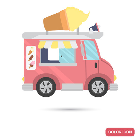 Mobile van with ice cream color flat icon isolated on plain background.