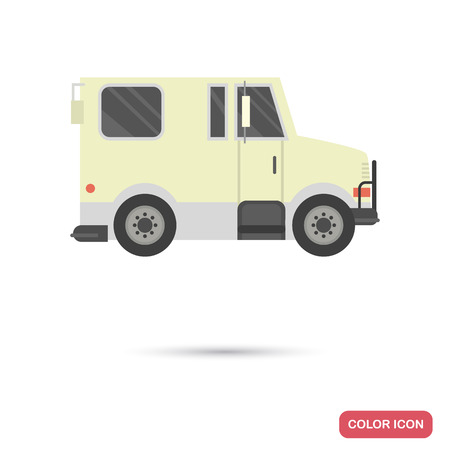 Armored truck color flat icon