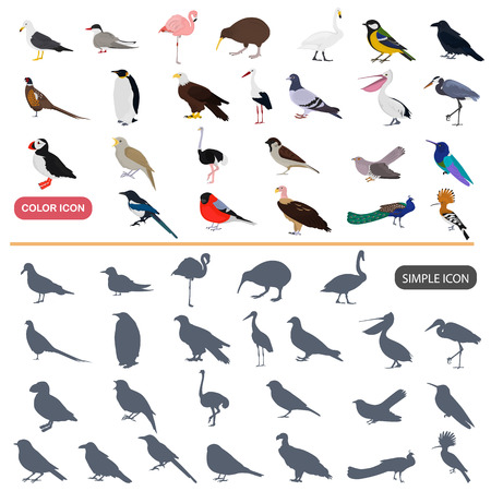 Color flat and simple birds icons set Vettoriali