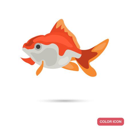Golden aquarium fish color flat icon