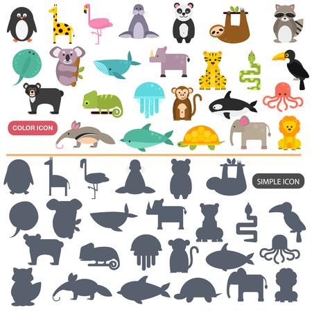 Funny animals color flat and simple icons set Illusztráció