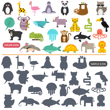 Funny animals color flat and simple icons set Stock Illustratie