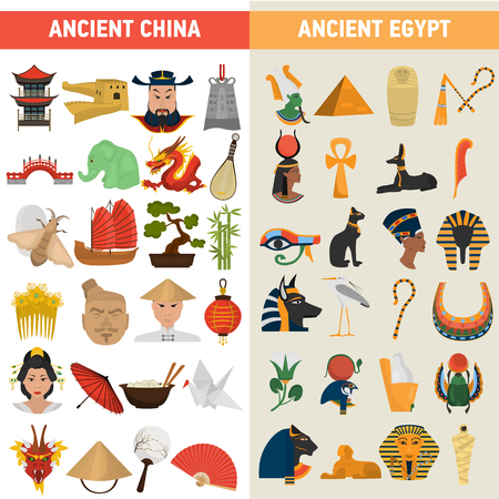China and Egypt great civilizations color flat icons set