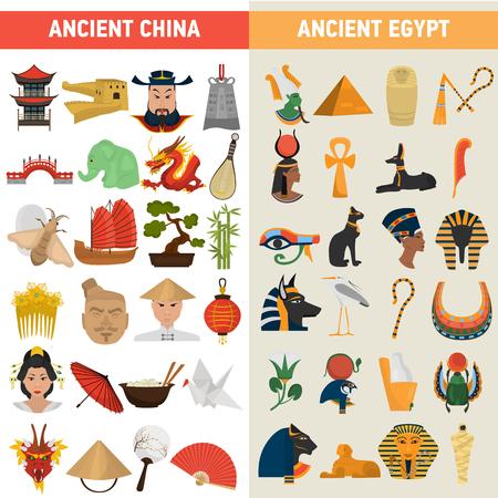 China and Egypt great civilizations color flat icons set Фото со стока - 99049899
