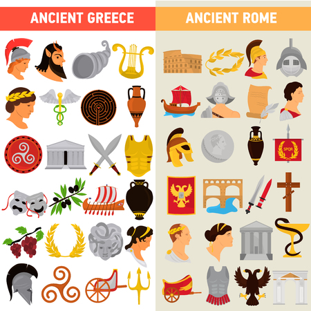 Rome and Greece great civilizations color flat icons set