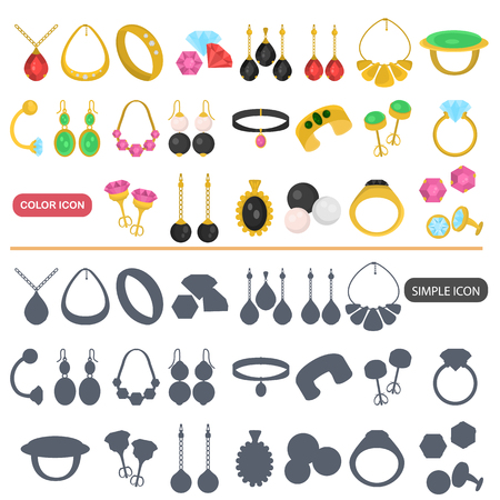Different jewelry color flat and simple icons set