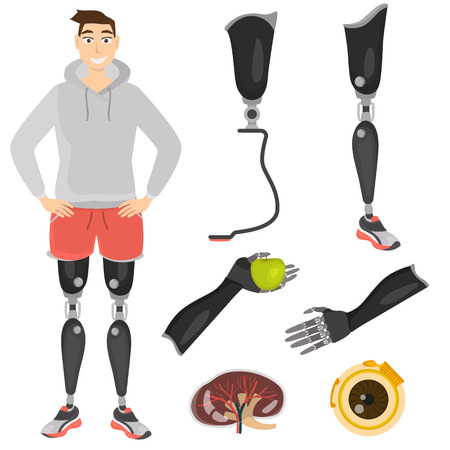 Set of color icons of prostheses and artificial parts of the body. Guy with leg prostheses illustration Ilustração