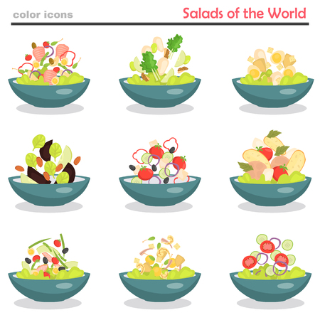 Set of plates with various world cuisine salads color flat icons Ilustração