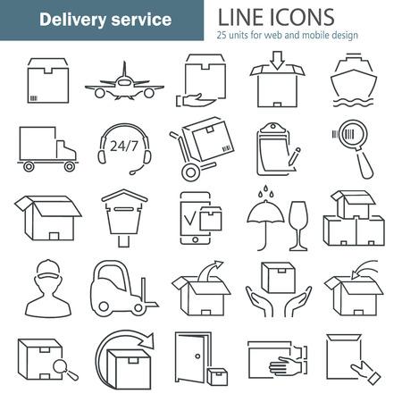 Delivery service line icons set Illustration