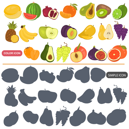 Fruits color flat and simple icons set Ilustrace
