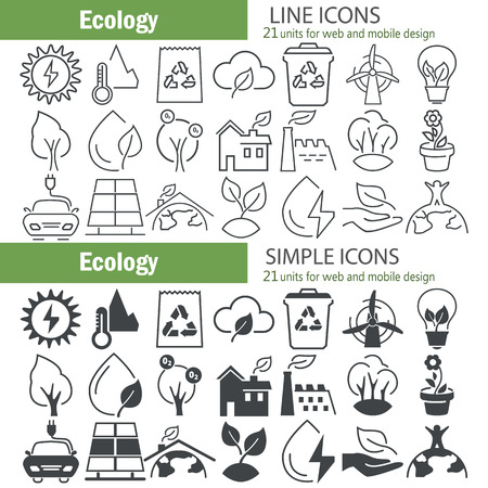 Ecology line and simple icons set Illustration