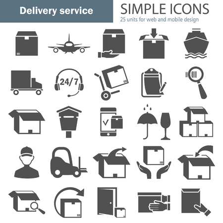 Delivery service simple icons set Illustration