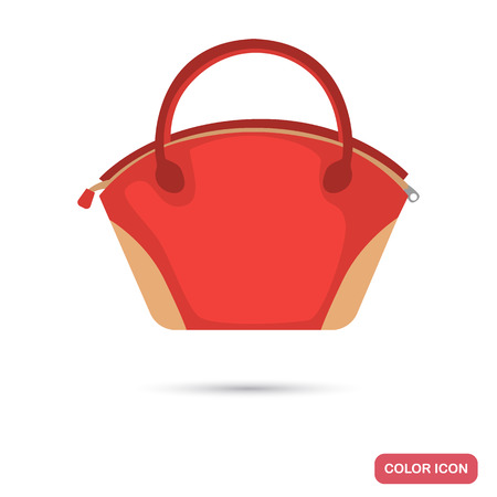 Lady hand bag color flat icon vector illustration.