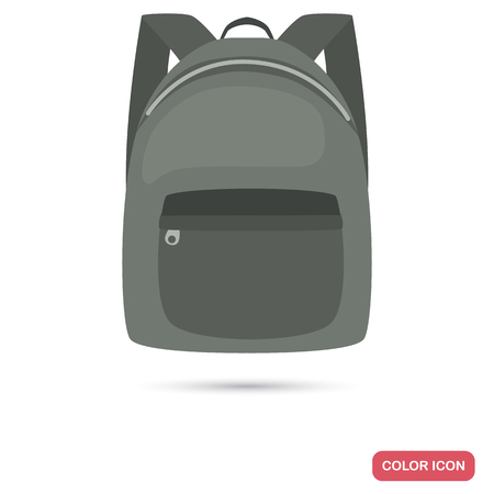 Male backpack color flat icon vector illustration.