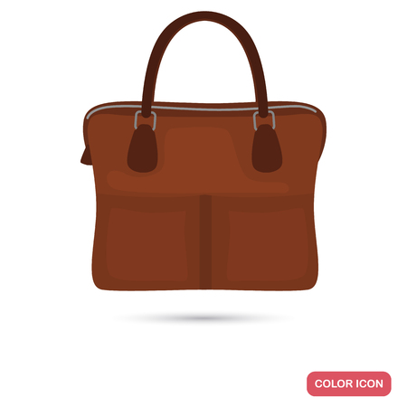 Men business briefcase color flat icon illustration.