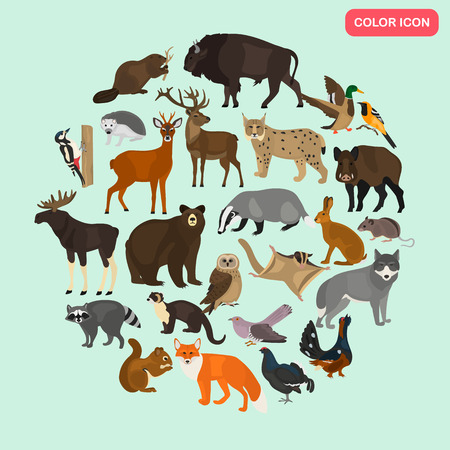 Forest animals color flat icons set Ilustracja