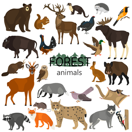 Forest animals color flat icons set Illustration