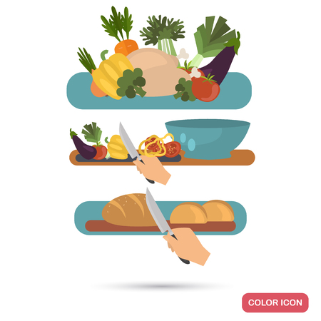 Surface with products. Slicing bread process. Preparation of salad. Color flat illustrations.