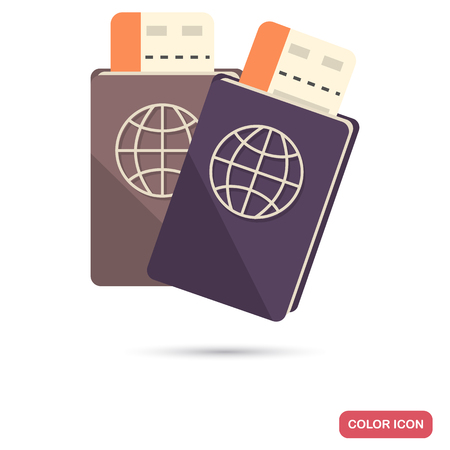 Passport with boarding passes color flat icon