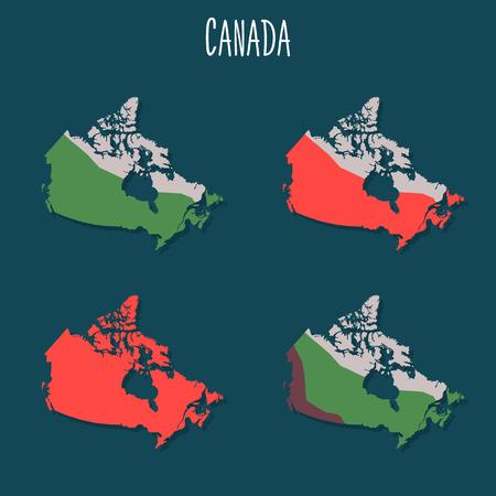 Canada territory variations color flat illustrations set