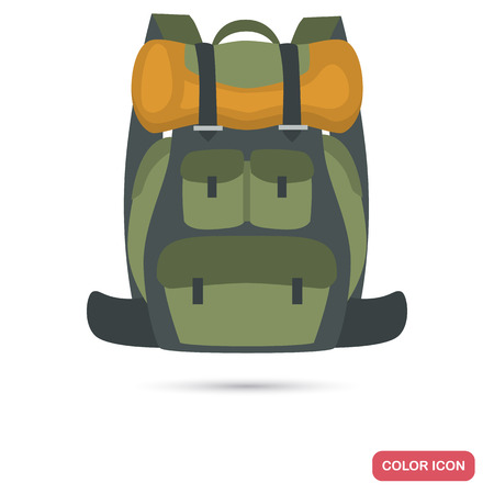 Travel backpack color flat icon