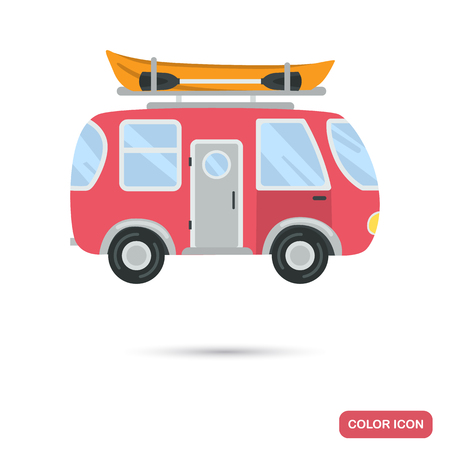 Camping bus with boat at the roof color flat icon
