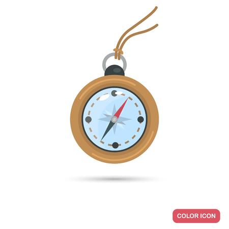 Travel compas color flat icon