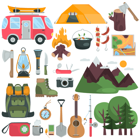 Camping and camping equipment color flat icons set