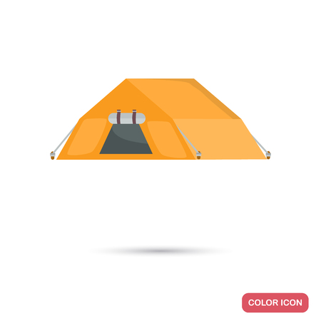 Camping tent color flat icon