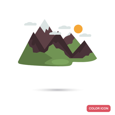 Wooded mountains color flat icon