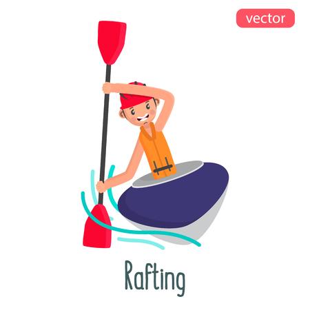 Rafting man flat character. Color vector illustration Illusztráció