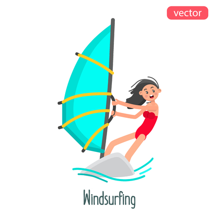 Windsurfing girl flat character. Color vector illustration