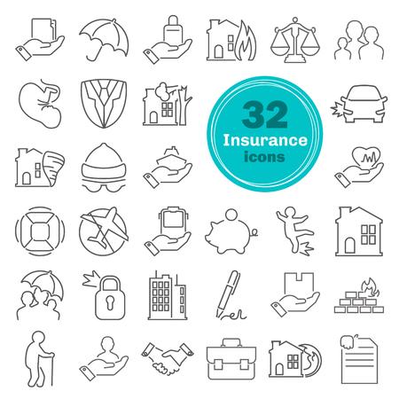 Insurance service line icons set
