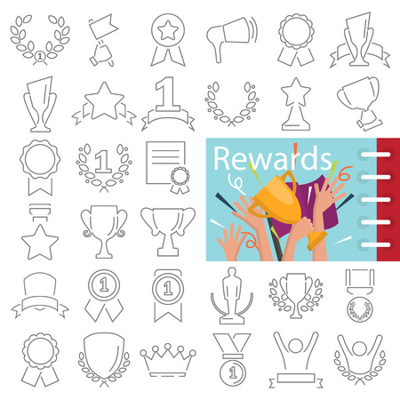 Different prizes and rewards line icons set decorated thematic color flat illustration