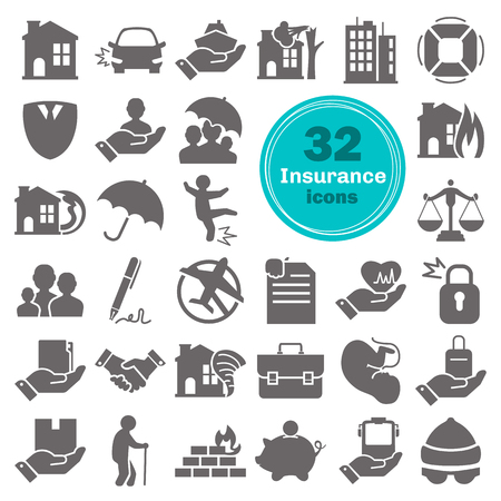 Insurance service simple icons set