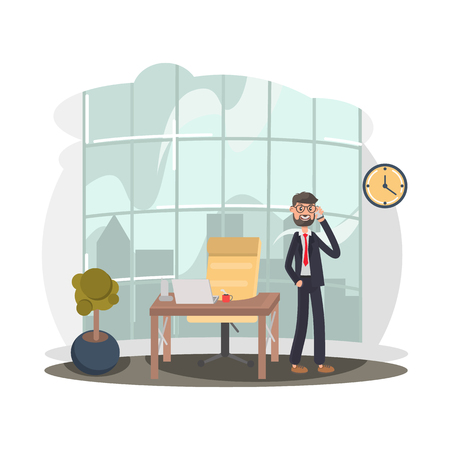 Businessman talking on the phone near the workplace color flat illutration Illustration