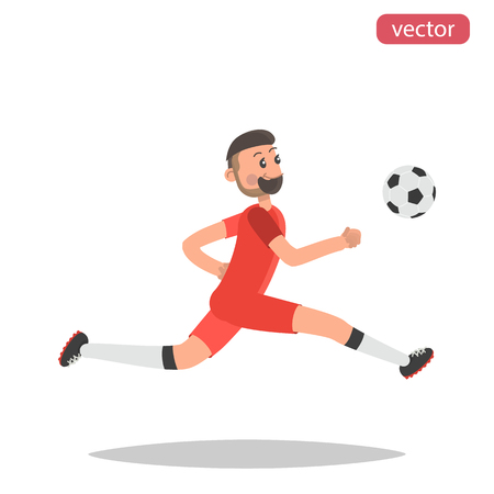 Football player hits the ball color flat illustration