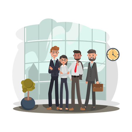 Team of office workers color flat illutration Illustration