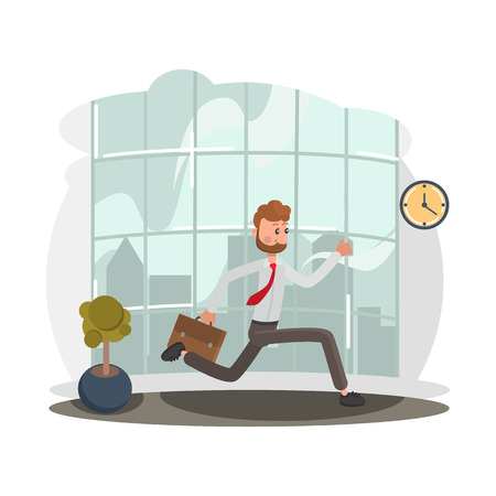 Running office worker color flat illustration Çizim